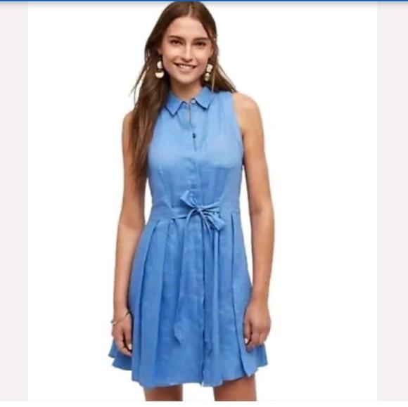 Anthropologie Dresses & Skirts - HD in Paris Printemps Linen Shirt Dress Blue sz 0